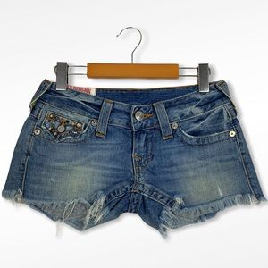 TRUE RELIGION Medium Wash Low-Rise Jean Shorts